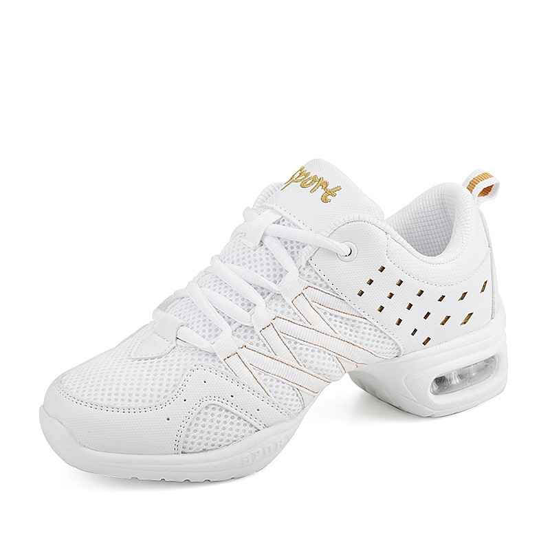 New White Dancing Shoes Soft Bottom Shoes For Women Hover board Sports Aerobics Dance Mesh Modern Sq