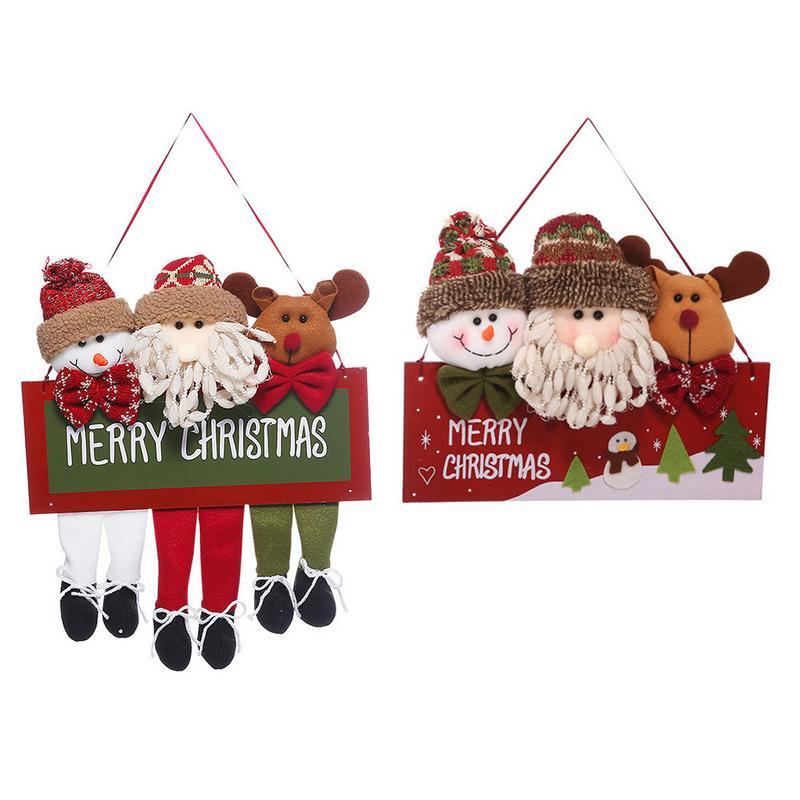 New Year Christmas Wooden Ornaments Santa Snowman Elk Door Hanging Ornament Window Decoration Home Door Tag