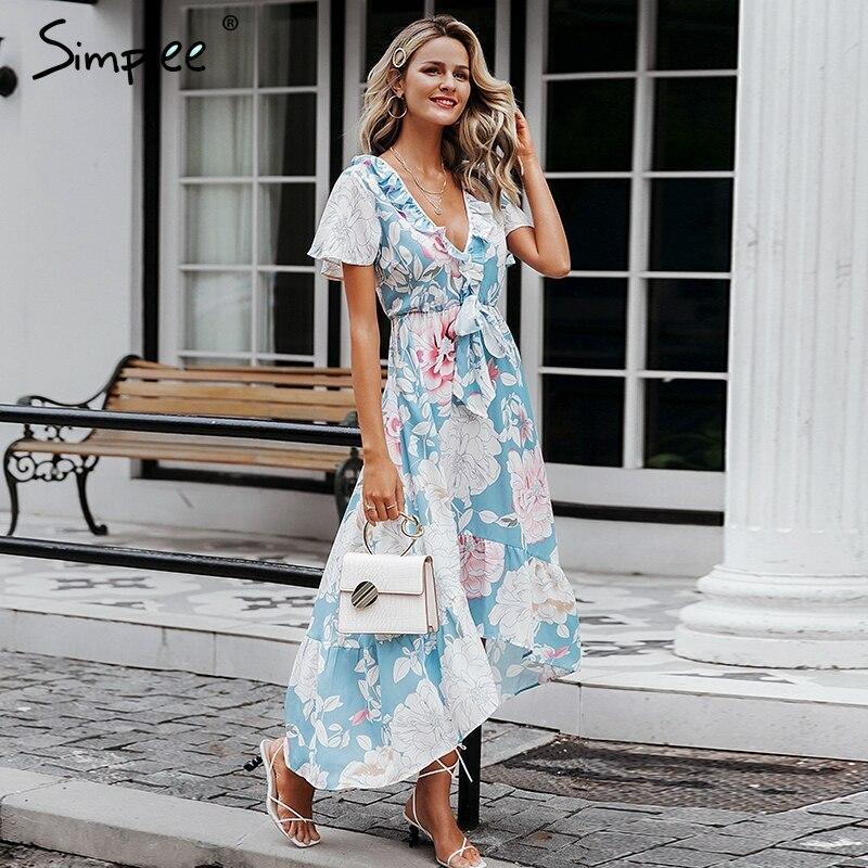 Simplee Sexy cuello pico mujeres vestidos asimétricos de manga corta estampado floral vestido de talla grande largo verano elegante vacaciones vestidos 2019