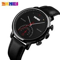 SKMEI Business Quartz Watch Men Fashion Simple Watch Leather Strap Watches Alloy Case Waterproof Wristwatch Relogio Masculino