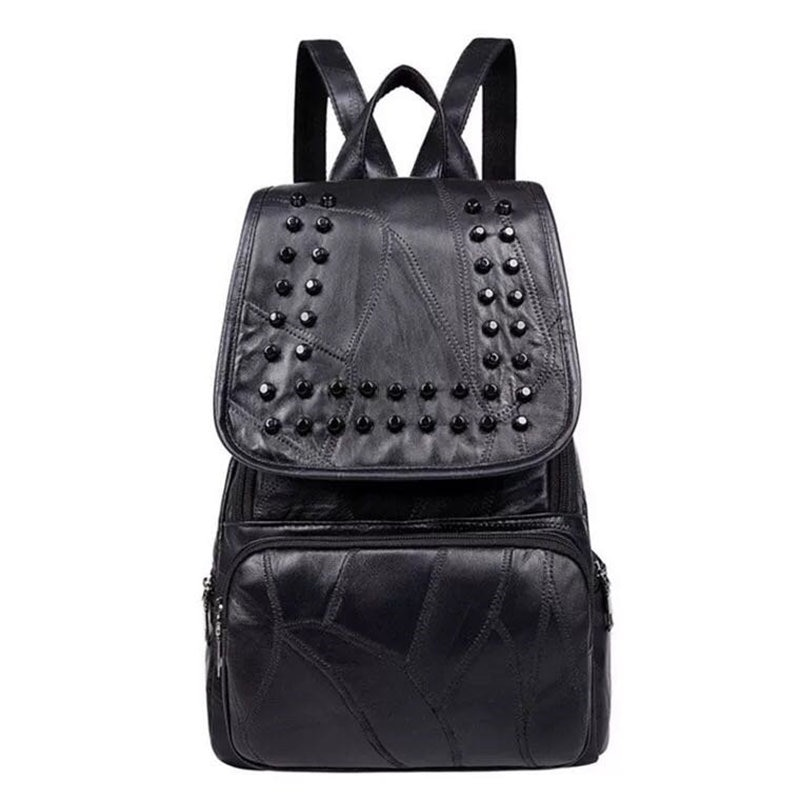 New Style Backpack Women PU Leather Backpacks For Teenage Girls School Bags Fashion Studs Solid Black Shoulder Bag
