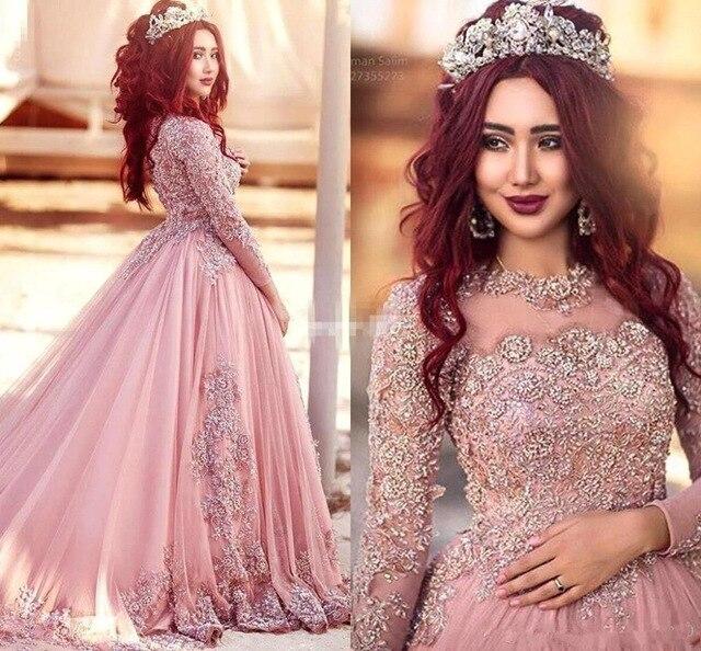 Rosa musulmán caliente vestidos 2019 bola vestido mangas largas tul con encaje y cuentas Islámico de Dubai Arabia Saudí elegante 2018 vestido