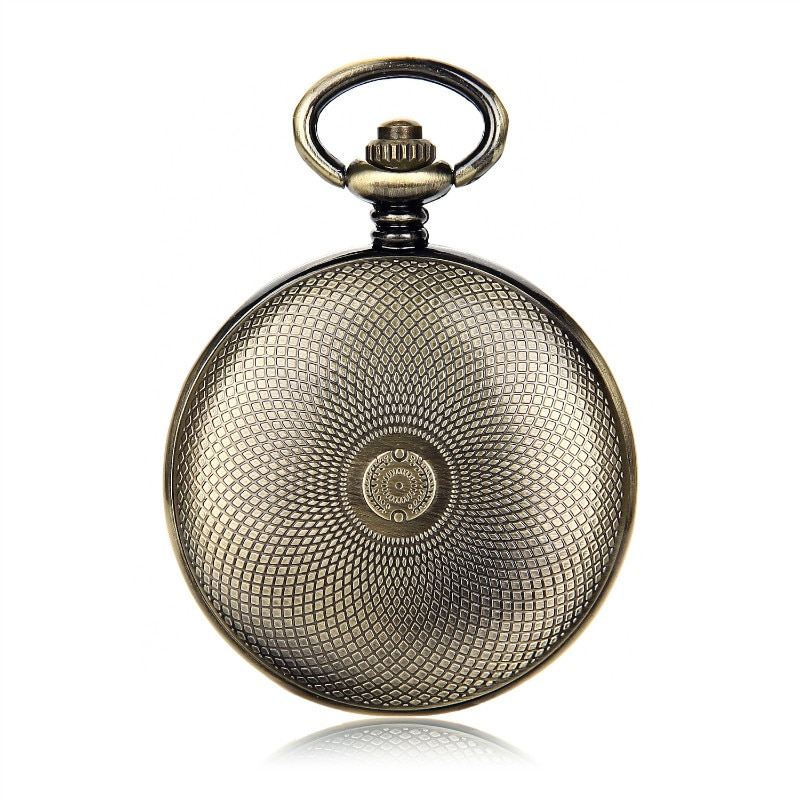 SHUHANG Brand Bronze Tone Case Black Dial Arabic Number Skeleton Steampunk Hand Wind Mechanical Pocket Watch w/Chain Full Hunter