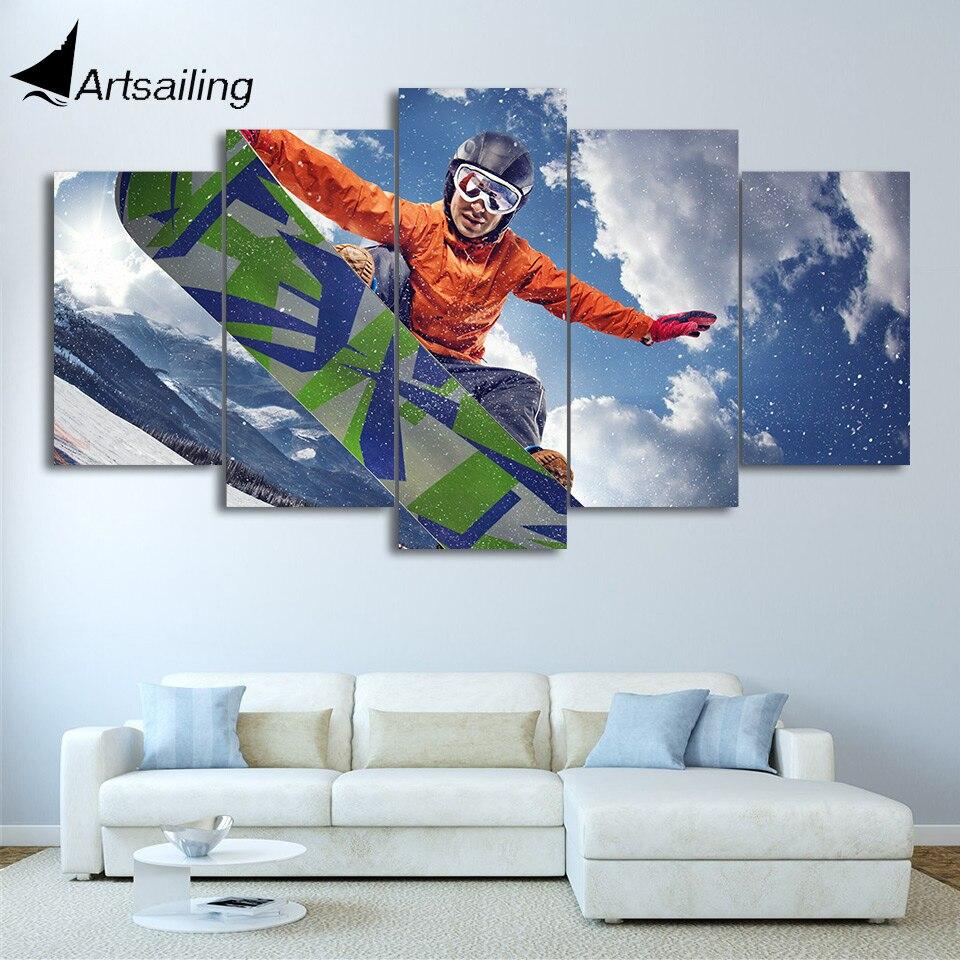 HD impreso 5 piezas de arte de lona hielo montaña esquí pintura Snowboard pared fotos para sala de estar moderno envío gratis CU-2662C
