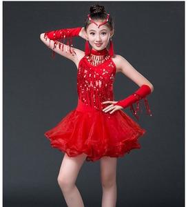 Children Clothing Summer Sleeveless Tassel Short Girl-latin-dance-competition-dress Chiffon Sequin Dress To Dance Wear Girls Set