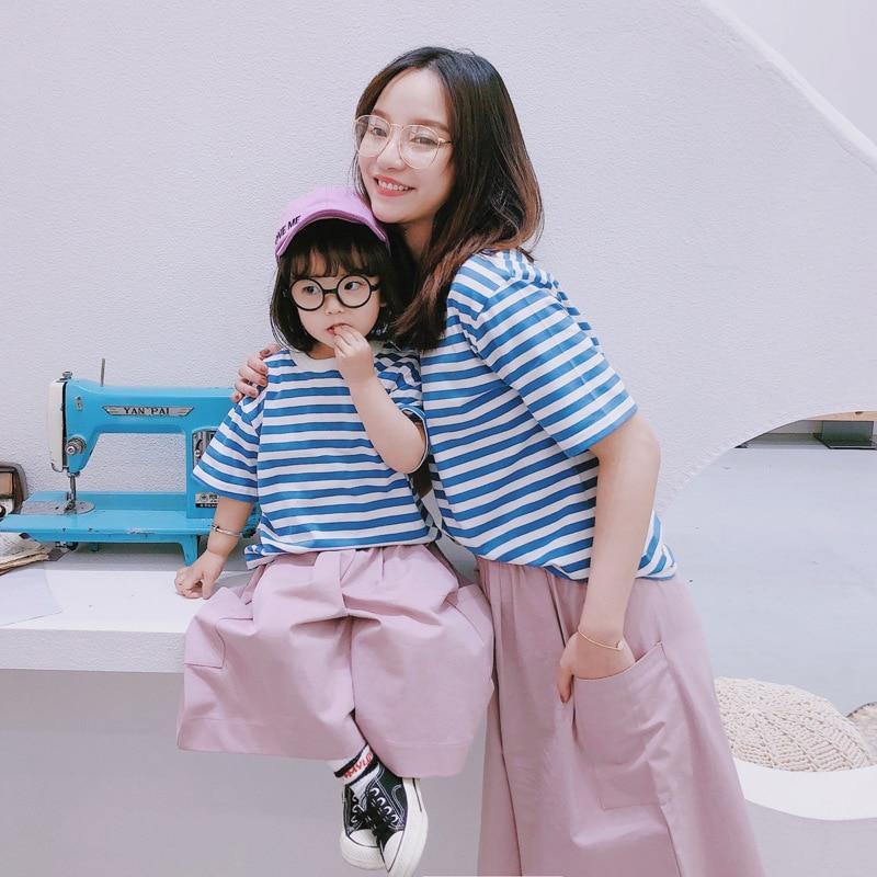 T-Shirt maman and Me dété en coton   T-Shirt à manches courtes et rayures + ensemble pantalon à jambes larges, tenues assorties pour la famille, vêtements mère fille