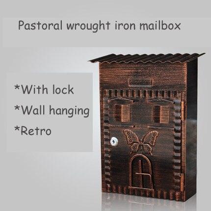 Caja de letras Retro villa jardín con cerradura, pared exterior, buzón creativo, caja de correo de casa, hoja galvanizada
