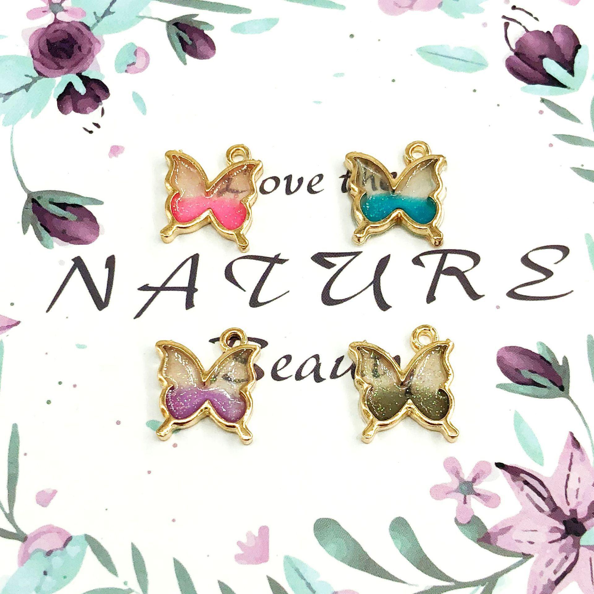 10 unids/lote moda mariposa colgante encantos de aleación de cinc esmalte nacarado encantos de mariposa accesorios de la joyería de 15*16mm