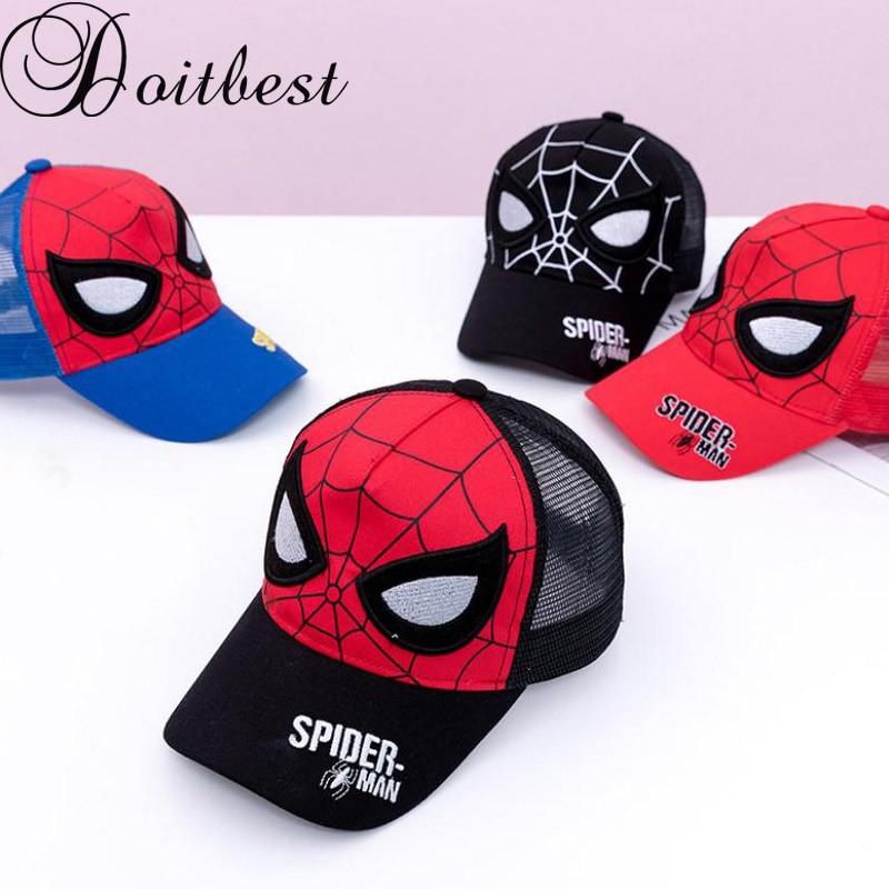 Doitbest gorra de béisbol para niños, gorra transpirable de Spiderman para niños, gorra de verano de malla para niños y niñas, gorras de Hip Hop, gorras snapback