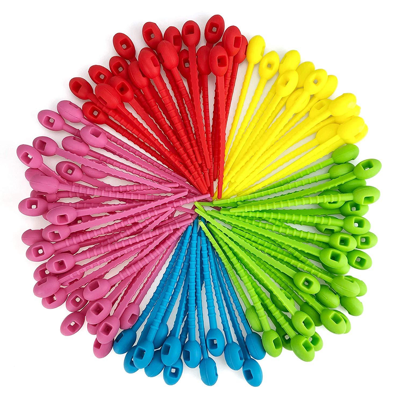 Correa de silicona reutilizable para cables correas multiusos tirantes para bolsa de ahorro de alimentos Clips ajustable para sellado de aperitivos Clip de almacenamiento de cocina hogareña