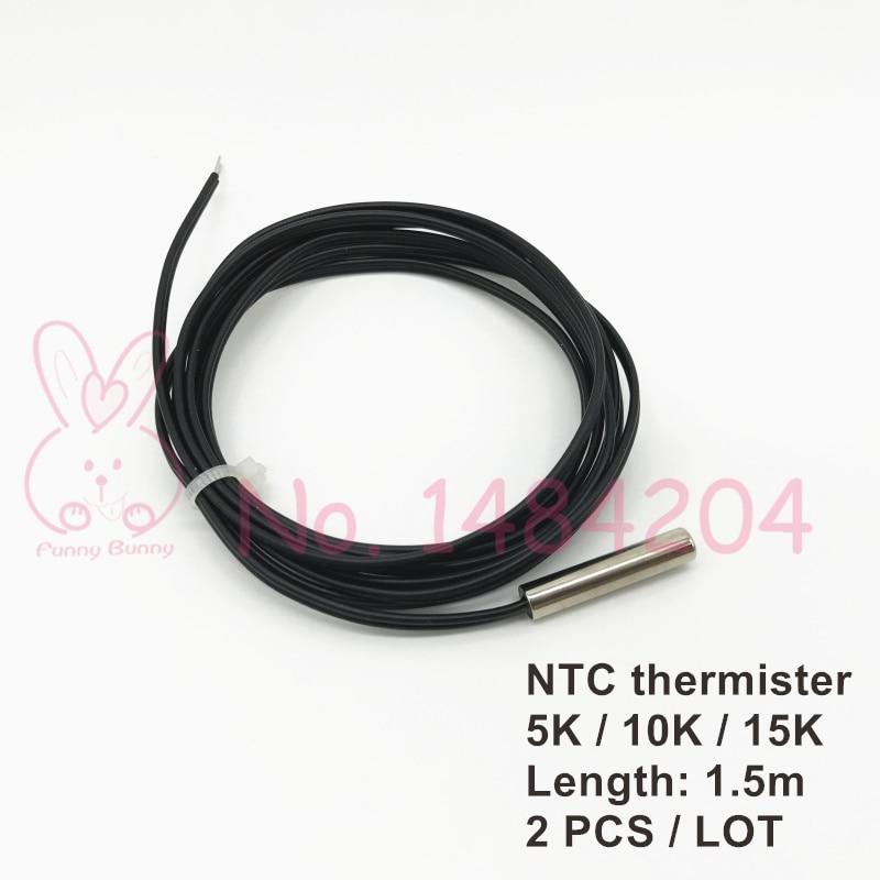 2x ntc 3950 termistor sensor de temperatura 5 k 10 k 15 k ohm ponta de prova 5mm * 25mm ponta de prova 1.5m fio 2 pces à prova dwaterproof água