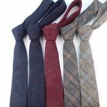 Cravate style européen pour hommes   Laine, slim, pois, cravate étroite, tricot décontracté, à carreaux, angleterre Cravat, 6cm de largeur