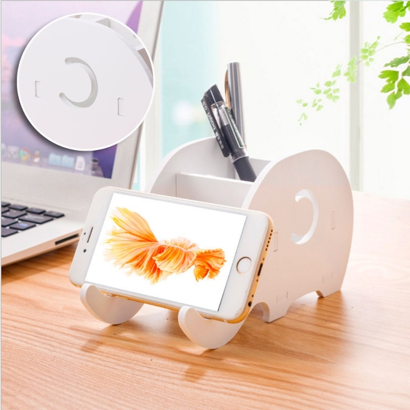Desktop Holz Elefanten Bleistift Halter Telefon Halter Stift Halterung Stehen Lagerung Rack yy56