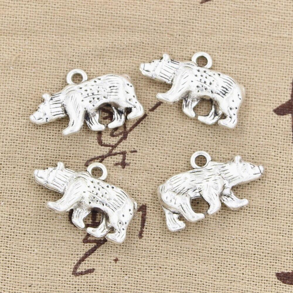 4pcs Charms Bear California State Flag 24x15mm Antique Making Pendant fit,Vintage Tibetan Bronze,DIY Handmade Jewelry