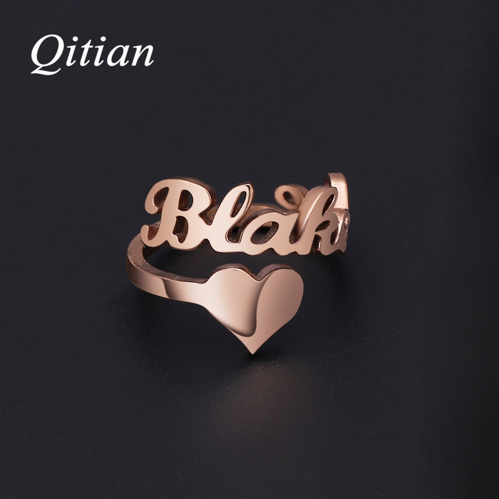 Anillos de nombre personalizados, Color dorado, números de fecha, anillo en espiral de corazón para mujeres, acero inoxidable de alta calidad, joyería para hombres, no se destiñe