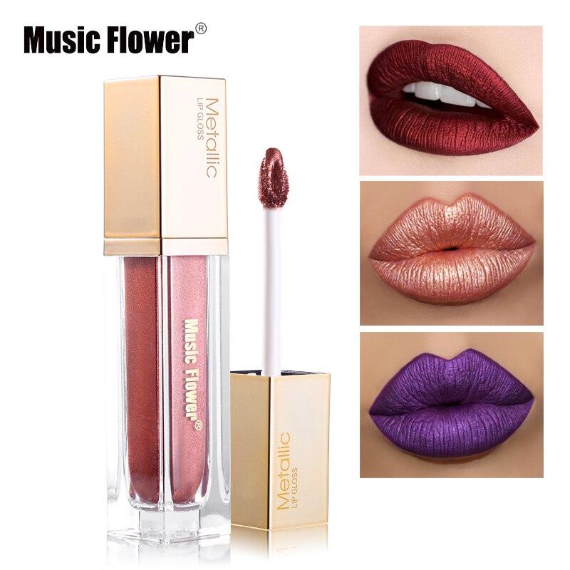 Music Flower Diamond Metallic Lipstick Cream Liquid 8 Color Shimmer Lip Gloss Paint Moisturizer Sexy Pigment Waterproof Cosmetic