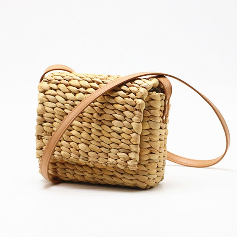 Bolso de hombro para mujer, bolso de playa tejido de verano, bolso de paja hecho a mano bohemio, bolso de mensajero para mujer, bolso cruzado cuadrado