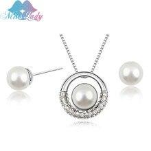 Miss Lady romantique collier couleur imitation perle Vintage ronde bijoux ensembles en gros mode pour les femmes MLZ1182