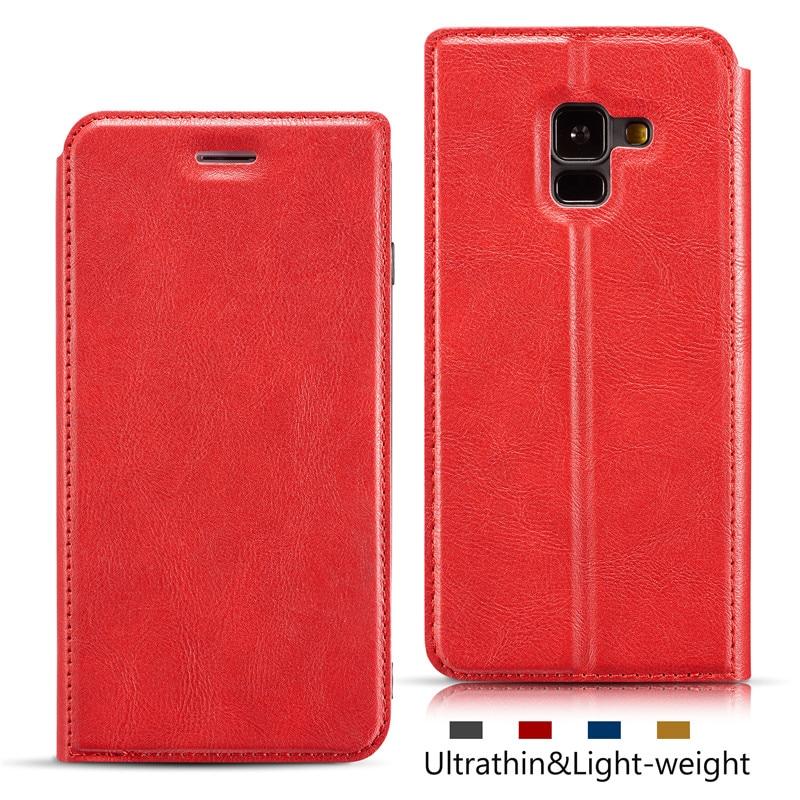 Ultra-delgada cartera flip caso de teléfono para Samsung Galaxy A8 2018 SM-A530F A530F/DS casos de lujo cubierta de la tarjeta de ranuras cordón cubre