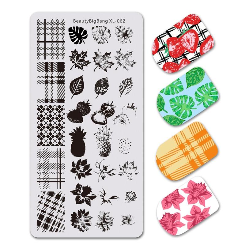 BeautyBigBang, 1 pieza, estampado para uñas, hoja de flores DIY, diseño geométrico de la naturaleza, diseño a cuadros, plantilla de láminas estampadas, Nail Art, XL-062