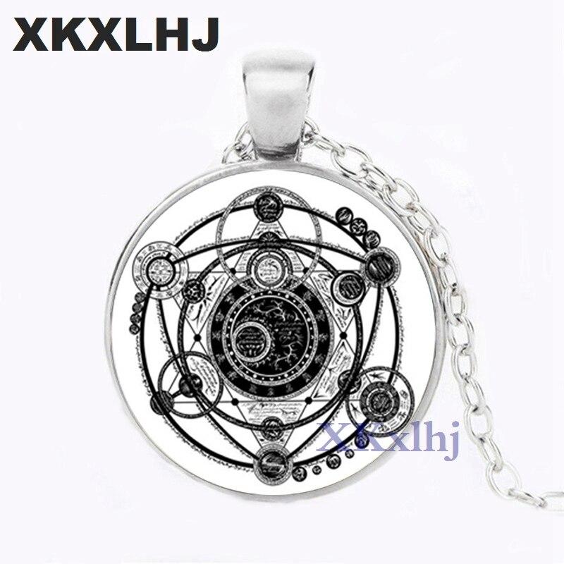 XKXLHJ Sigil, Collar COLGANTE mágico de brujería, Collar llamativo para mujer, accesorios de vestido, joyería de cabujón de cristal