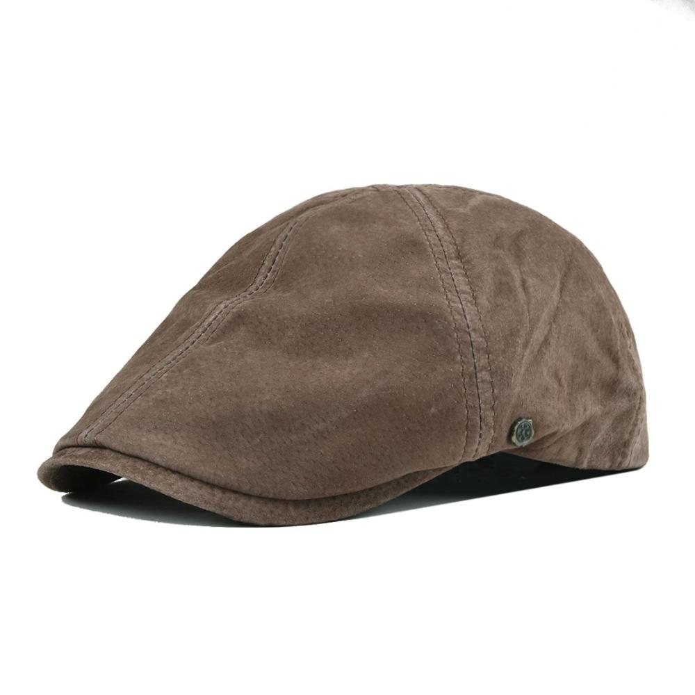 Бейсболка VOBOOM, замшевая плоская кепка из свиной кожи и нубука для мужчин и женщин, шляпа пекаря с подкладкой 153