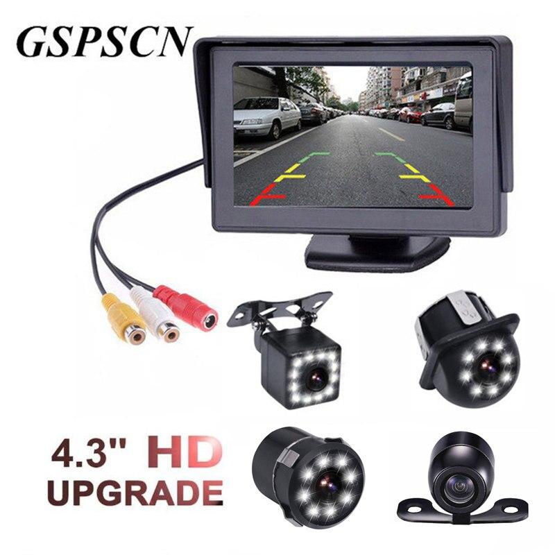 """GSPSCN 4,3 """"TFT LCD de Color HD Monitor + Cámaras de visión trasera de coche Kit con la actualización LED de visión nocturna de cámara de visión trasera de coche"""