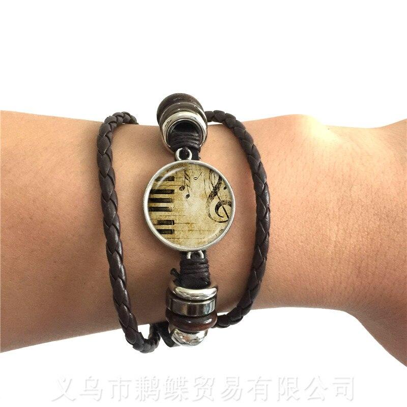 Fashion Musical Note Leather Bracelet Charm Fancy Music Heart Musician Jewelry Retro Christmas Piano Men Women Gifts