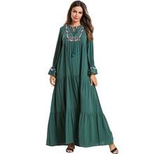 Plus Size Vestido Women Kaftan Abaya Dubai Arabic Islamic Muslim Hijab Dress Caftan Dresses Ramadan Elbise Robe Musulmane Longue