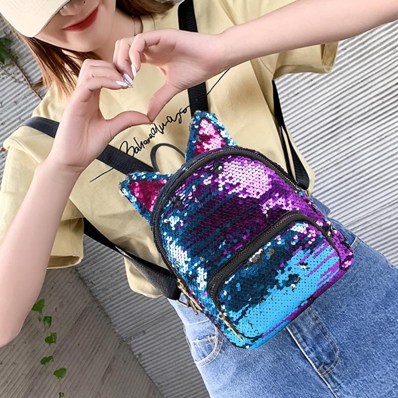 Bonitas mochilas de viaje Oreja de Gato con lentejuelas, mochilas escolares de hombro informales para mujer, Mochila pequeña de varios colores, mochila nueva