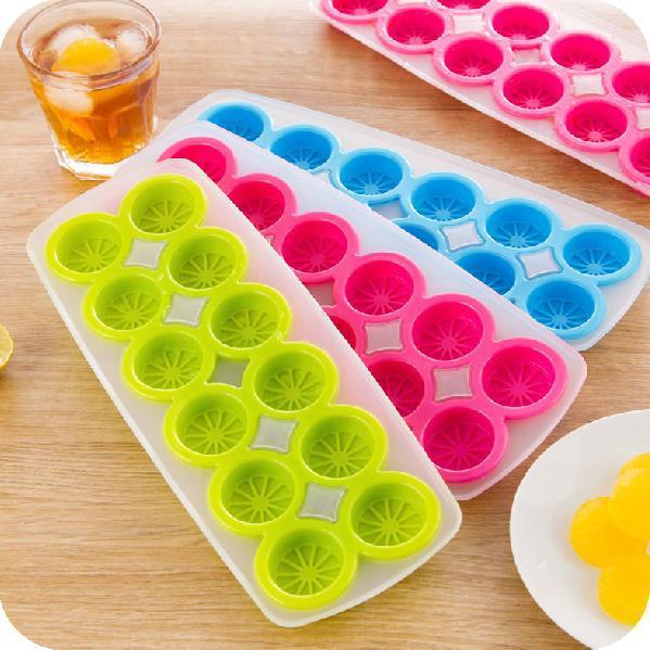Cubo de hielo de silicona creativo forma de limón molde de hielo Color caramelo 12 rejillas cubitos de hielo bandeja de cocina gruesa y suave herramientas para hacer hielo