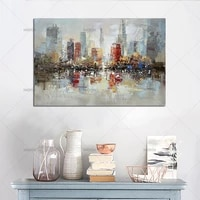 modern landscape new york building hand painted canvas oil painting abstract city building wall picture for home room decoration