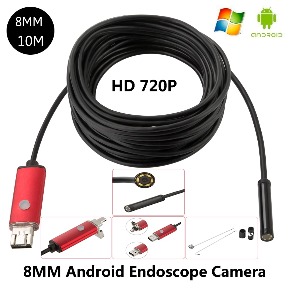 Cámara endoscópica HD Android impermeable 10M Cable 8mm lente endoscopio Android inspección por boroscopio cámara para PC teléfono
