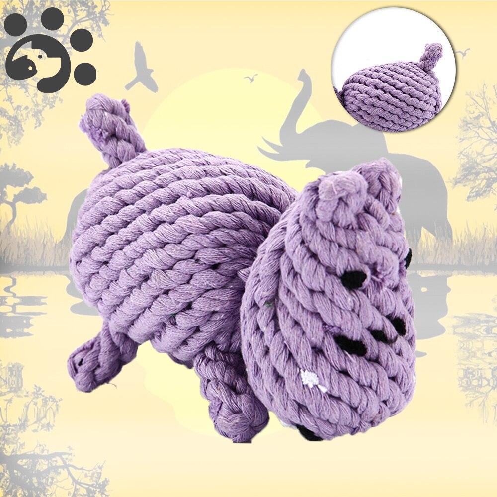 Juguetes para mascotas y perros para Limpieza de dientes y molares, juguetes interactivos para morder, cuerdas duraderas de algodón, juguete con forma de nudo de hipopótamo TY0101