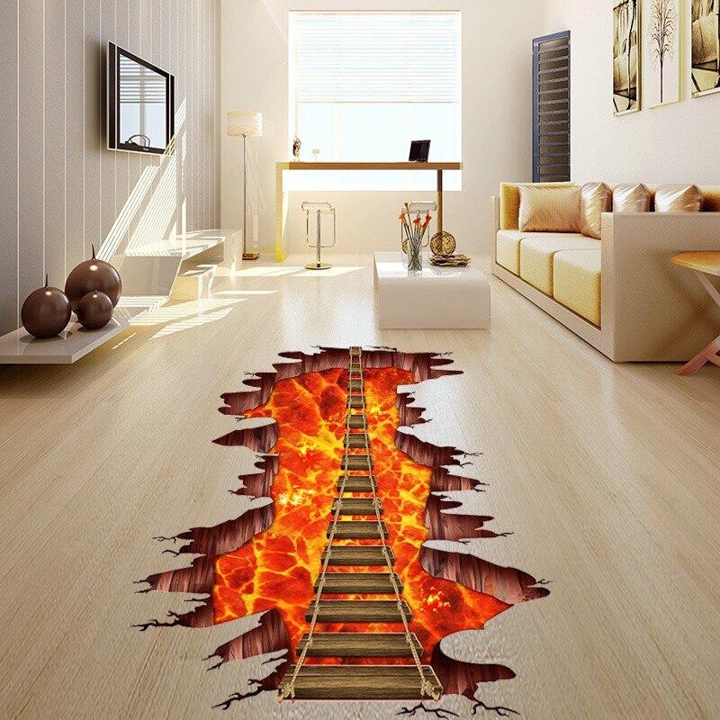 3d cósmica ponte levadiça simulação piso/adesivos de parede ponte para sala estar crianças quarto decalques parede decoração da sua casa