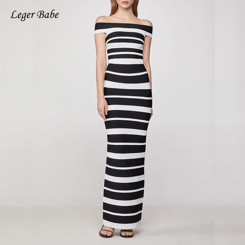 Vestido ajustado a rayas blanco y negro sexi para mujer, cuello barco con hombros descubiertos, Vestidos ajustados de verano para fiestas en discoteca, Vestidos largos
