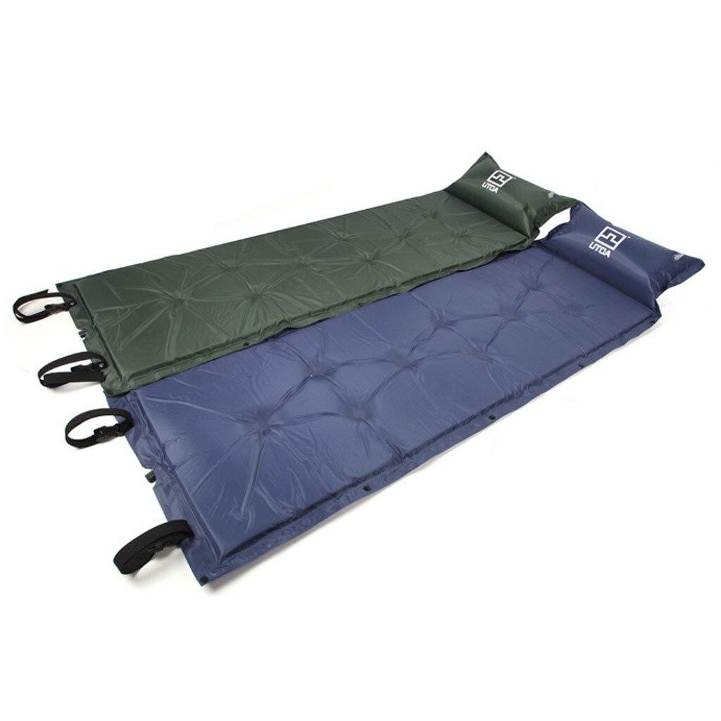 2019 Self Inflating Camping Roll Mat Sleeping Bed Inflatable Pillow Air Mattress Bag Camping Pad Picnic Beach Mat Sand Mat