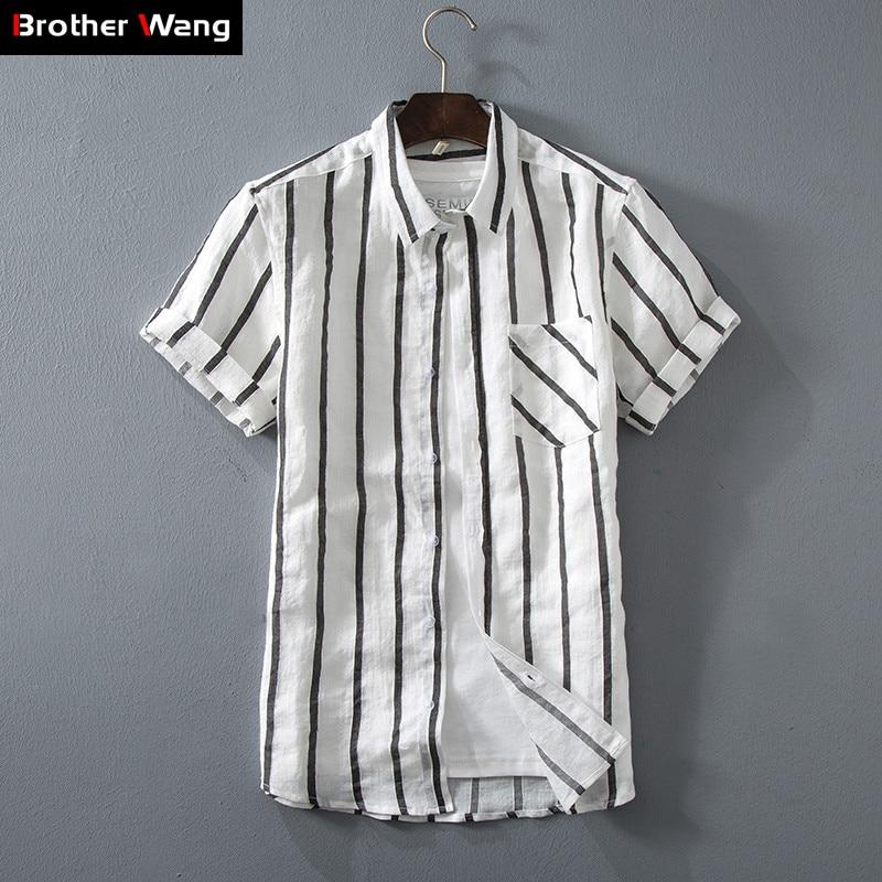 Camisa Casual DE LINO DE 5 colores para hombre, novedad de verano 2019, estilo de moda de lino ajustado, camisa de manga corta a rayas, ropa de marca masculina