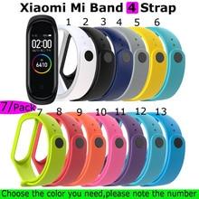 For Xiaomi Mi Band 4 Bracelet Strap Miband 3 Silicone Wristband 7Pcs