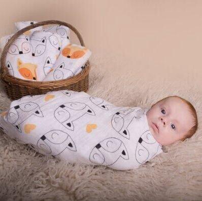 Manta Muslinlife para envolver muselina de algodón 100%, modelos de botellas cruzadas/de zorro/de leche, manta multiusos, envoltura para recién nacidos, 47*47