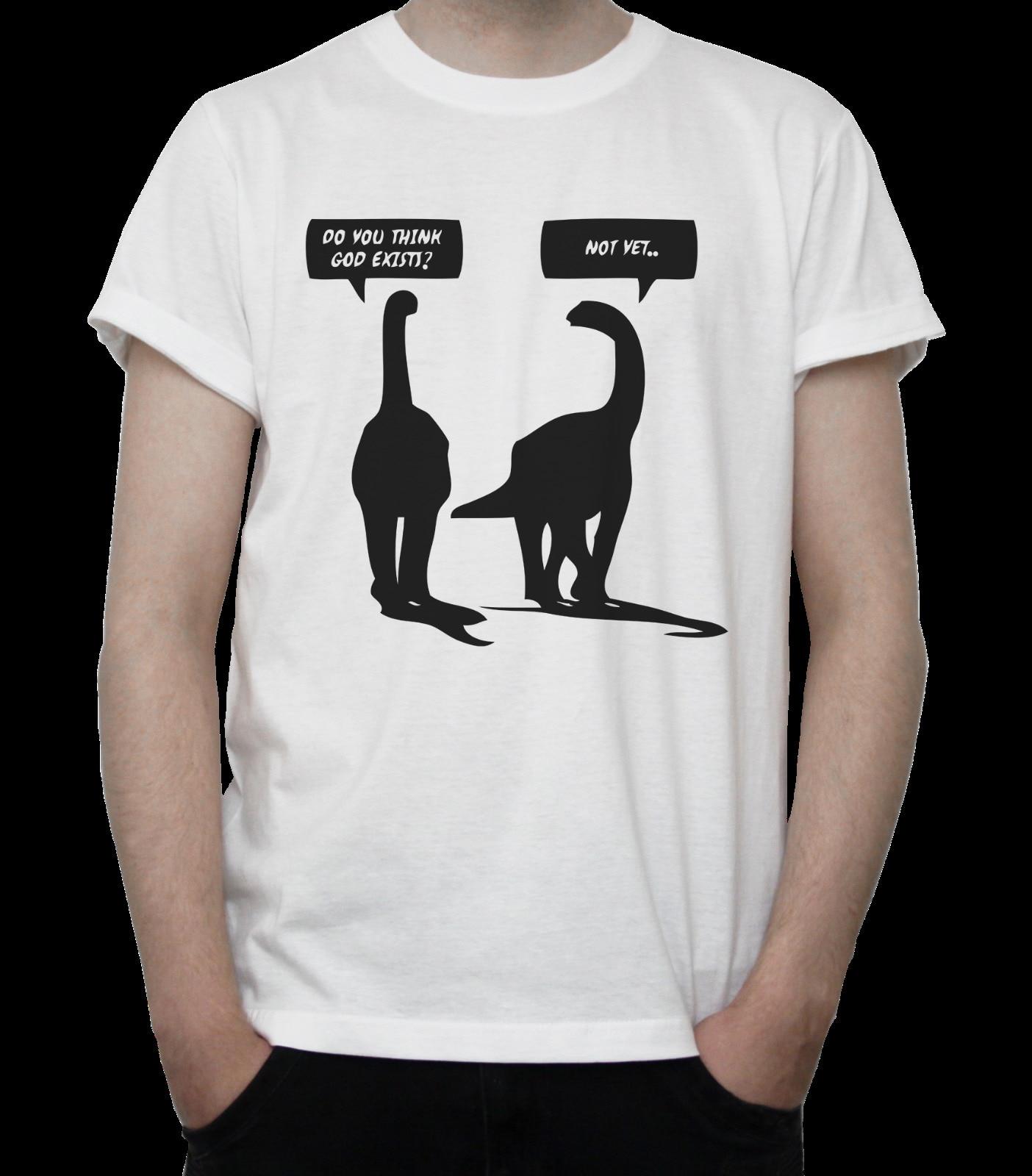 "Dinosaurios ""DOES GOD existir"" divertida camiseta Brontosaurus atea Iglesia gris blanco"