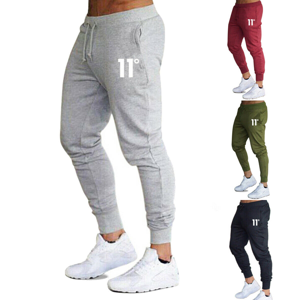 Hot Mens Casual Slim Fit Tracksuit Sports Solid Male Gym Cotton Skinny Joggers Sweat Casual Pants Tr