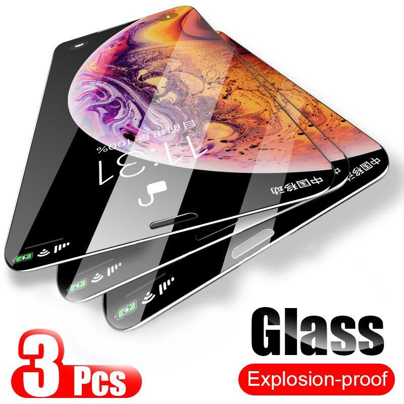 3 piezas de vidrio para iPhone Xs 11 Pro max Xr Xs X 7 8 6 S 6s Plus SE 2020 vidrio templado 9H dureza película de pantalla a prueba de explosiones