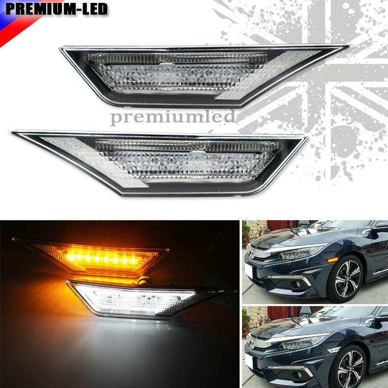 (2) luces LED ámbar y blanco con lente clara JDM OEM, lámparas de indicador lateral blancas para 10 ° Gen Honda Civic Sedan/Coupe/Hatchback