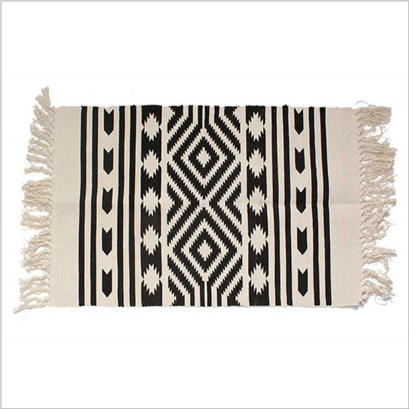 Hand Woven Black White Cotton Handmade Tassels Area Rugs Durable Machine Washable Rug for Livingroom/Bedroom/Hallway/Kitchen