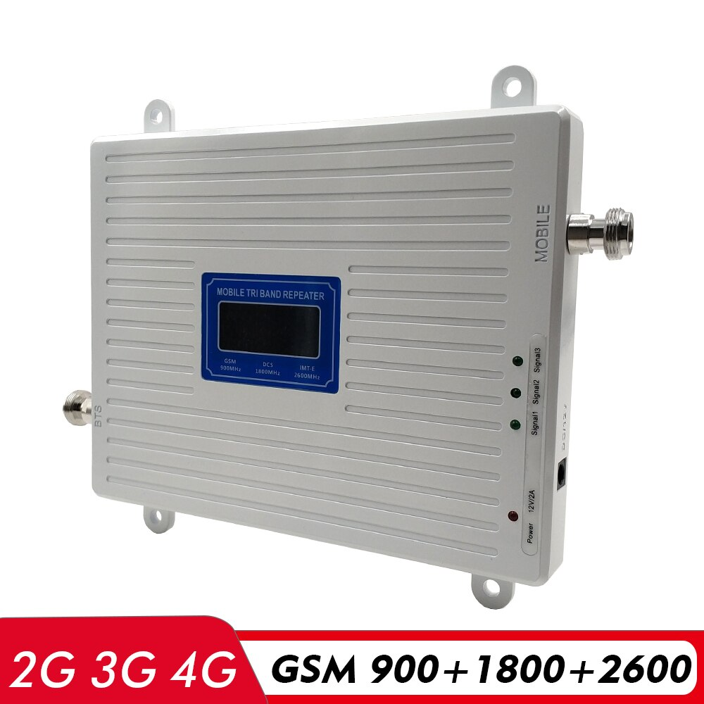 2G 3G 4G Tri Band Signal Booster GSM 900+DCS LTE 1800+FDD LTE 2600 Cell Phone Signal Booster 900 1800 2600 LTE Network Amplifier