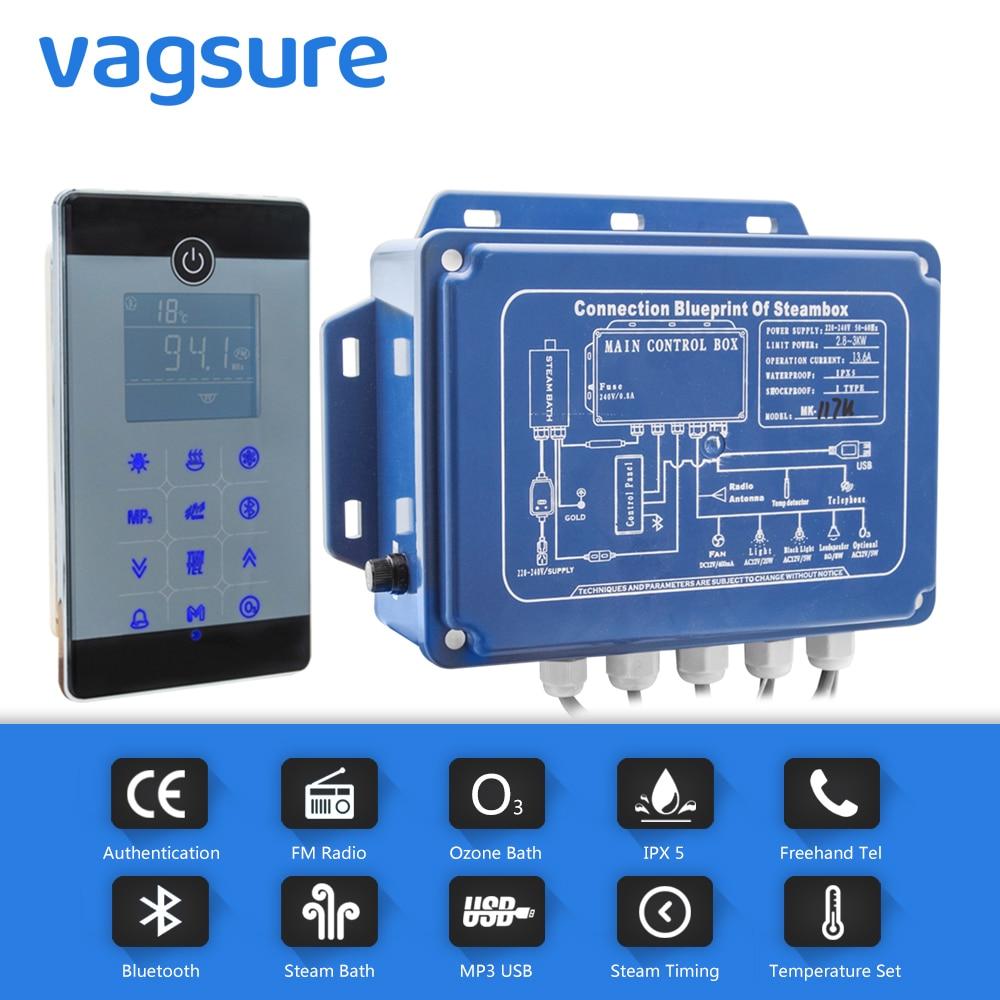 2.8KW IPX5 بلوتوث و MP3 USB اللمس البخار تحكم الأوزون ساونا سبا مولد البخار الوقت الإعداد ودرجة الحرارة الاستشعار التيار المتناوب 220 فولت