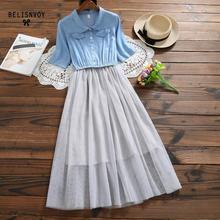 Women Long Dress Summer 2019 Elegant Denim Mesh Patchwork Slim Pleated Elbise Preppy Style Casual Dress Vestidos
