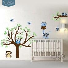 Stickers muraux en vinyle   Stickers de dessin animé, hibou girafe, arbre, oiseaux, pépinière, chambre denfants, décor pour la maison, 160x180cm