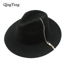 Cool Black Zipper Fedora Vintage Women Ladies Floppy Wide Brim Wool Felt Fedora Cloche Hat Cap